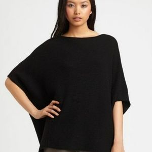 Vince black wool cashmere knit poncho sweater